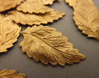 4 Brass Leaf Stampings - Thick and Sturdy