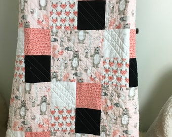 Baby Quilt - Bears and Foxes with Glasses