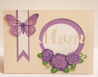 Mothers day blank card, purple butterfly
