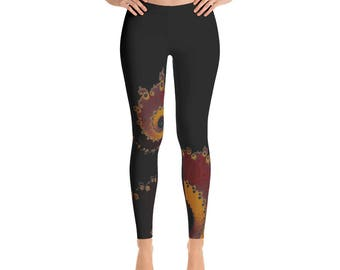Fractal Clothing, Fractal Clothes, Fractal Leggings, Fractal Tights, Mandelbrot Clothes, Sacred Geometry, Burning Embers Fractal Leggings