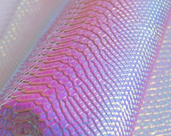 Snake Skin Holographic Fabric,Holographic Snake Skin Vinyl Leather For Bags Crafting,Purses Leather Fabric,Sold by 1/4 Yard(27x18'')