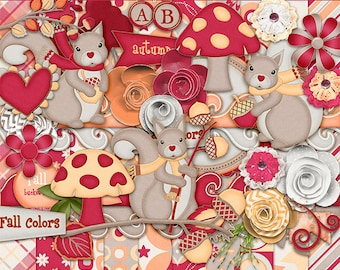 30%Off Autumn squirrels  Digital Scrapbooking Kit - Autumn Cliparts ,squirrels Cliparts