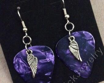 Angel Wings on Purple Pearl Genuine Guitar Pick Earrings
