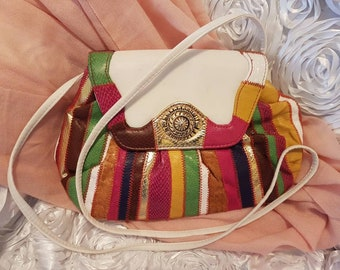 Vintage Multi colored leather  shoulder purse 1970 with Gold decorations , great condition , cross over bag, can use as a clutch