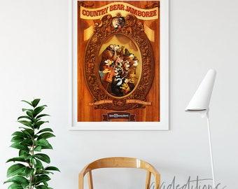 Disney World Poster, Vintage Country Bear Jambore Attraction Poster, Nursery Art Print, Kids Decor, Home Decor, Wall Art Not Framed
