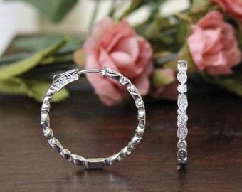 1.32 ct.tw Easy Lock Art Deco Hoop Earrings-Brilliant Diamonds Outside W/ Inside-Dazzling Earrings-Secure Lock-Sterling Silver [3280]