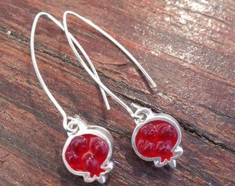 Red Pomegranate Earrings, Silver Earrings, Resin Jewelry