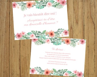 Bridesmaid card, will you be my bridesmaid?, country chic, flowers,