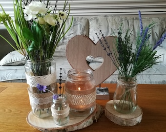 6 wedding flowers and candles holders (three big and three small)