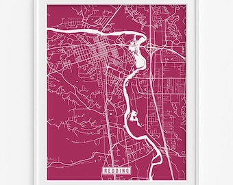 Redding Print, California Poster, Redding Poster, Redding Map, California Print, Street Map, California Map, Fathers Day Gift