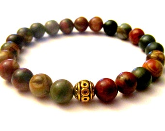 Jasper Bracelet. Yoga Bracelet. Healing Bracelet. Yogi Gift. Wrist Mala. Yoga Jewelry. Mala Beads. Beaded Bracelet. Buddha.