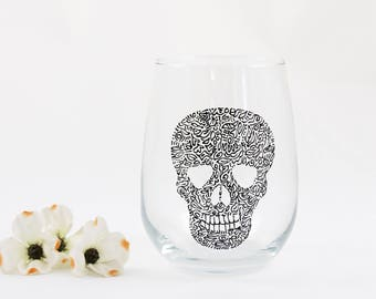 Skull wine glass - Hand painted stemless glass - Halloween gift