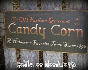 Primitive, Folk Art ,Halloween, Candy Corn wall sign