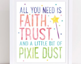 Peter Pan Quote, Faith Trust and Pixie Dust, Printable Wall Art, Printable Peter Pan, Peter Pan Wall Art, Peter Pan Print, Girls Nursery Art