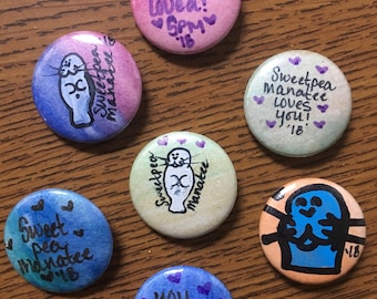 SweetPea Manatee Buttons & Pins