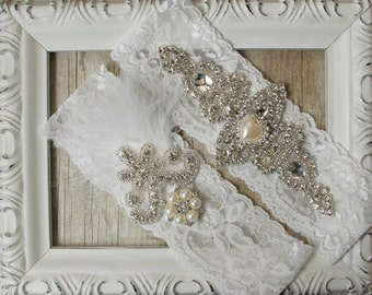 "Wedding garter set - Vintage Garter Set w/ ""Pearls"" and Rhinestones on Comfortable Lace, Wedding Garter Set, Crystal Garter Set"