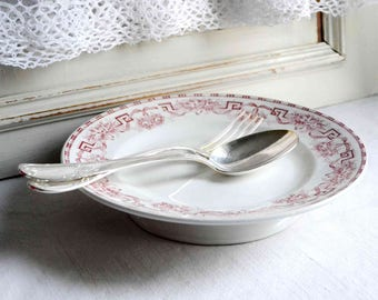 French antique pink transferware ironstone cake stand