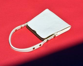 vintage 60s cream patent leather purse small mod bohemian 1960s gold studded adjustable shoulder bag structured top handle handbag