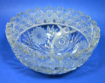 Lead Crystal Cut Glass Centerpiece Console Bowl