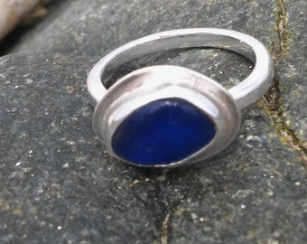 Blue Sea Glass ring, Blue sea glass and Sterling Silver, Sea glass, Sea glass Stacker ring, Sea glass ring UK size M 1/2, US size 6 1/4,