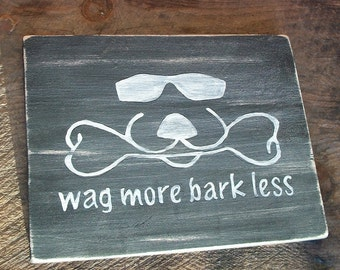 Wag More Bark Less Sign Plaque Cool Dog Duke Logo Beware Warning Pet Gift Distressed Wood