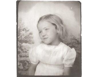 "Vintage Snapshot ""Little Angel"" Pretty Little Girl Blonde Hair Angelic Background Halo Photobooth Found Vernacular Photo"