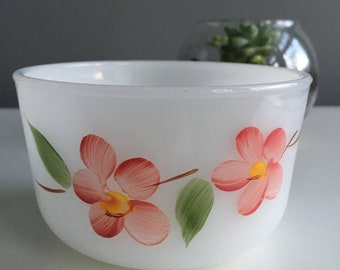 Vintage handpainted Fire King milk glass bowl with pink flowers