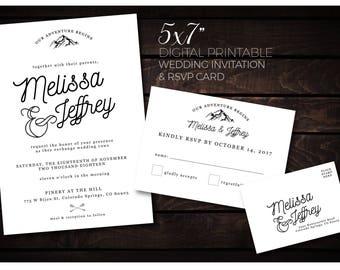 Mountain Adventure Wedding Invitation Printable