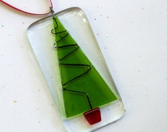Fused Glass Christmas Tree Ornament - Holiday Tree