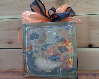 Glass Block/Decorative Halloween/Fall/Autumn With Decals and Candy Corn (8 inch)