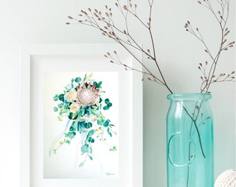 Custom Wedding Bouquet, Bridal Bouquet Painting, watercolor flower art
