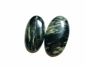 Silver leaf jasper cabochons , 2 pcs , 95 ct , oval shape , high polishing , natural stone , cabochons , code F2670