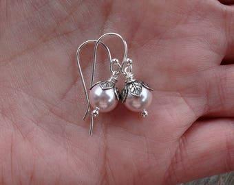 Pink pearl drop earrings swarovski pearl earrings pink and silver earrings pearl dangle earrings light pink earrings soft pink antique style