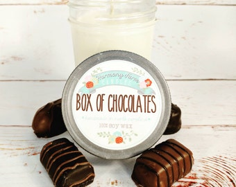 Box of Chocolates Soy Wax Candle in 8 oz. Jelly Jar - Chocolate, Fudge, Valentines, Galentines, Housewarming, Home, Hostess Gift