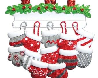 Family Christmas Ornament Family of 12 Ornament Mitten Ornament Family Mittens Personalized Christmas Ornament