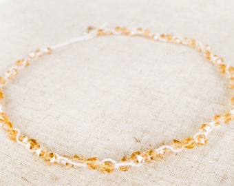 The Wreath Necklace-Gold necklace, hand wrapped, swarovski crystals, and pearls, for bridal parties, brides, and bridesmaids.