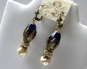 Cobalt Blue Victorian Earrings, Rhinestone and Pearls Edwardian Earrings, Tudor Marie Antoinette Earrings