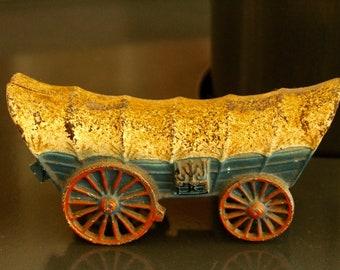 Vintage Cast Iron Covered Conestoga Wagon Bank