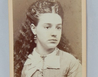 Antique Photograph Beautiful Young Girl Long Wavy Dark Hair