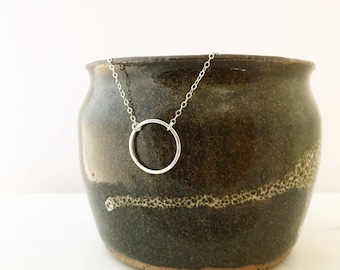 Silver Circle Necklace - Solid Sterling Silver Charm Necklace - Hammered Wire Pendant - Simple Minimalist Jewelry - Circle of Life
