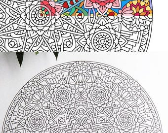 Mandala Coloring Page - Equanimity (Upekkha) - printable coloring page - adult coloring pages - mindfulness calm lotus flowers