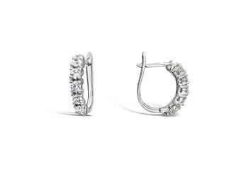 Pave Earrings - Cubic Zirconia Earrings - Hinged Hoop Earrings - Silver Hoop Earrings - Small Hoop Earrings - Silver Earrings Jewellery