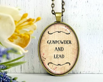 Gun Powder And Lead- Cowgirl Collection-Large Oval- Glass Bubble Pendant Necklace