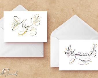 Calligraphy Astrology Cards with Gold Illumination