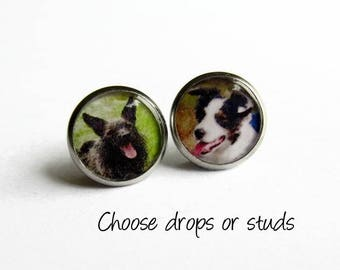 Custom Photo Earrings - Personalised Mismatched Earrings - Keepsake Jewelry Gift for Her - Hypoallergenic - Stud Earrings - Drop Earrings