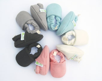 Warm Organic Cotton Fleece  All Fabric Soft Sole Baby Shoes / Made to Order / Babies