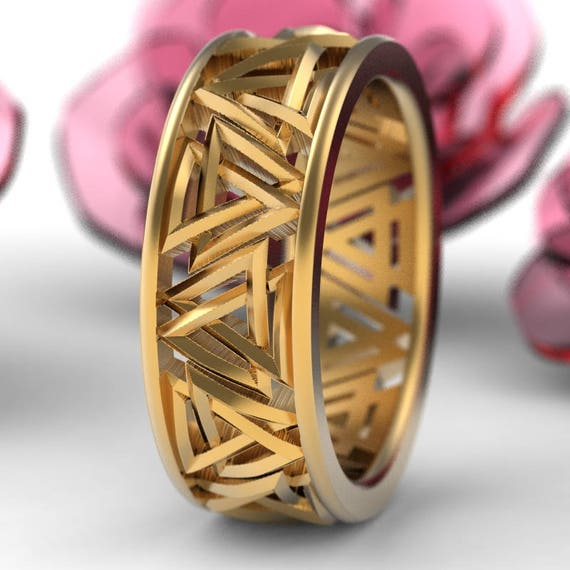 Valknut Knot Viking Gold Ring, Interlocking Triangles Ring, Odin Rune Jewlery, Norse Ring, 10K 14K 18K Gold Palladium or Platinum Ring 1189