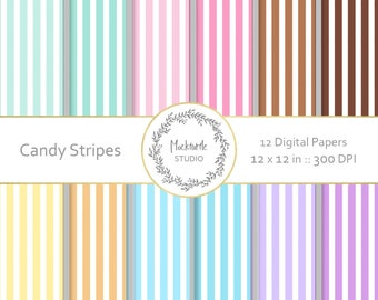 Candy Stripes digital paper - Striped clipart - Scrapbook paper, Striped Digital Paper, Digital Paper, Commercial use - Candy Stripes
