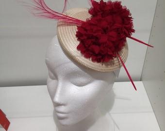 Buntal Pillbox, Buntal Hat, Wedding Hat, Ivory Red, Headpiece, Womens Hat, Womens Accessories, Wedding Accessories, Fascinator, Girls