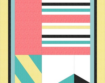 Modern, full bed quilt PDF pattern - Off The Wall